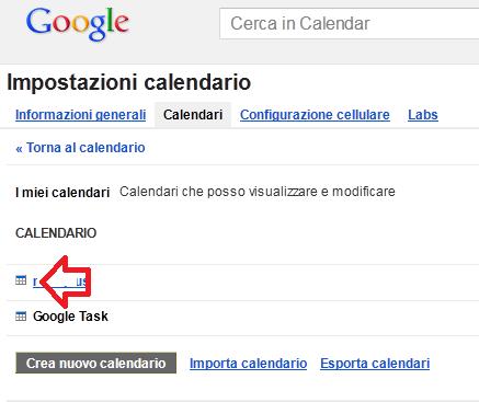 Scelta del calendario