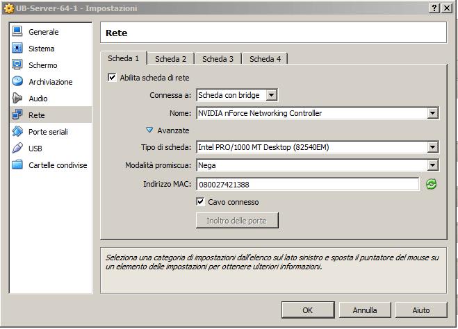 Configurazione della scheda di rete della macchina virtuale